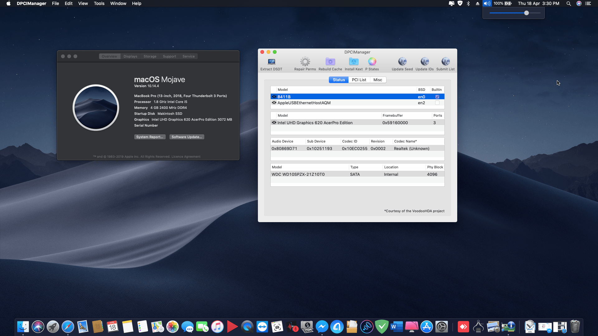 Succes Hackintosh macOS Mojave 10.14.4 Build 18E226 at Acer Aspire 5 A515-51-58XP
