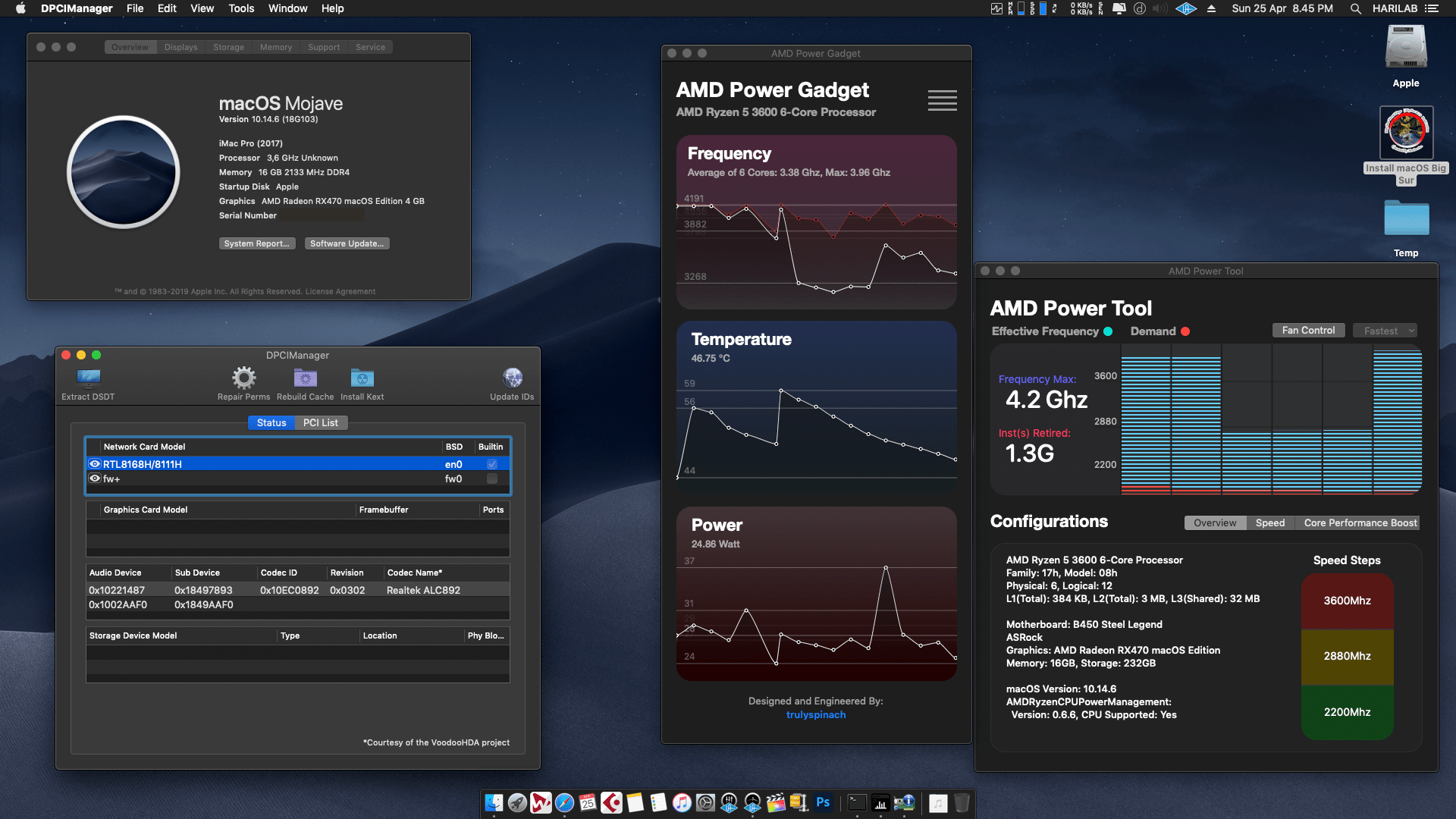 Success Hackintosh macOS Mojave 10.14.6 Build 18G103 in Asrock B450 Steel Legend + AMD Ryzen 5 3600 + AMD RX 470