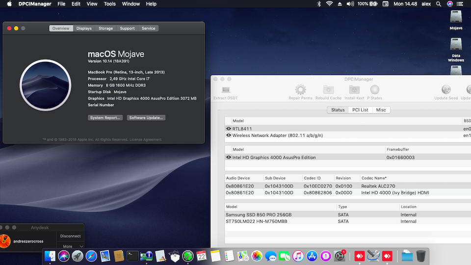 Success Hackintosh macOS Mojave 10.14 Build 18A391 at Asus A46CB-WX025D