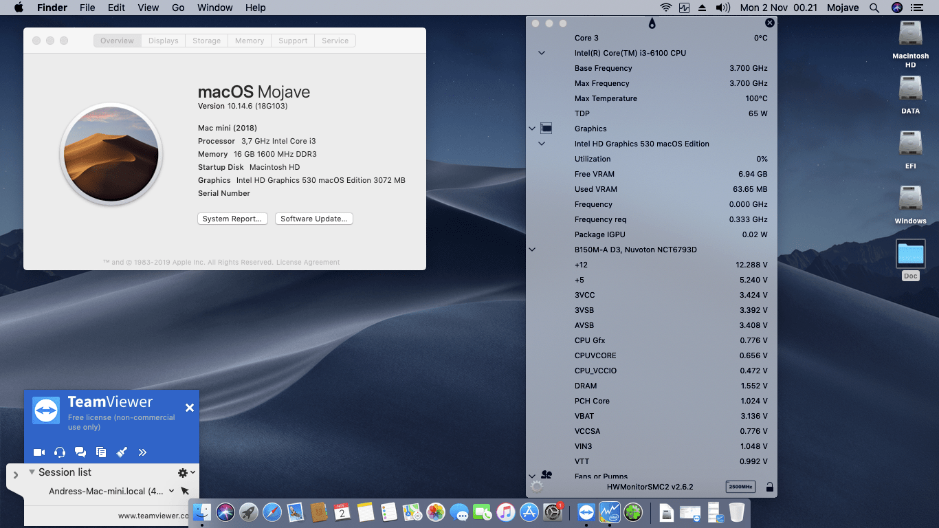 Success Hackintosh macOS Mojave 10.14.6 Build 18G103 in Asus B150M-A-D3 + Intel Core i3 6100