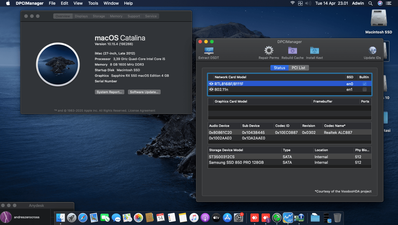 Success Hackintosh macOS Catalina 10.15.4 Build 19E266 in Asus H61M-C + Intel Core i5 3570 + Sapphire RX 550 (0x699F)
