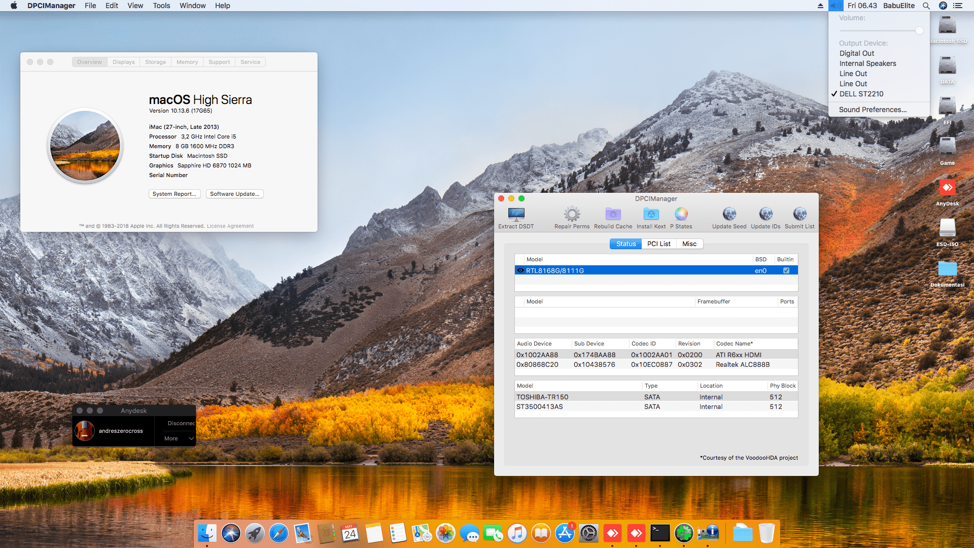 Succes Hackintosh macOS High Sierra 10.13.6 Build 17G65 at Asus H81M-C + i5 4460 + Sapphire 6870