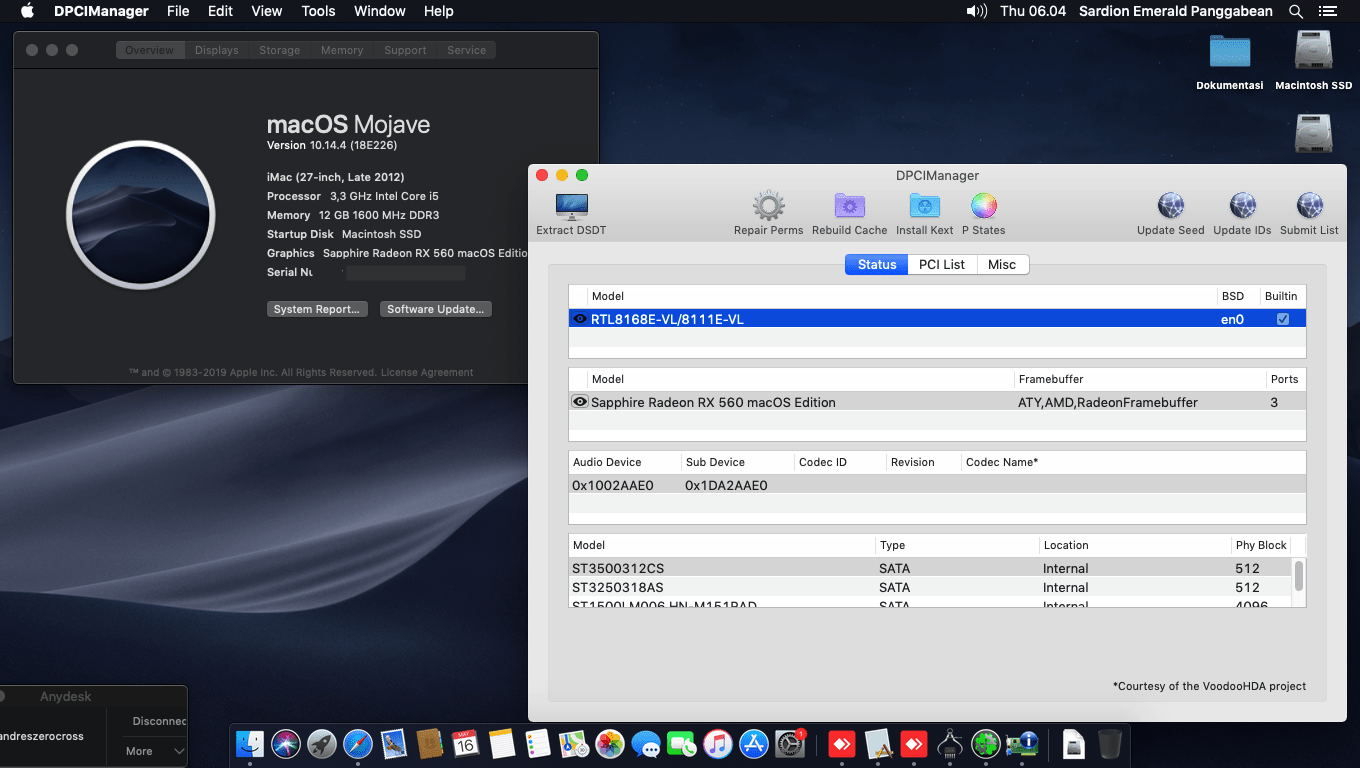 Succes Hackintosh macOS Mojave 10.14.4 Build 18E226 at Asus P8H61-M LE + Intel Core i5 3470 + Sapphire RX 560