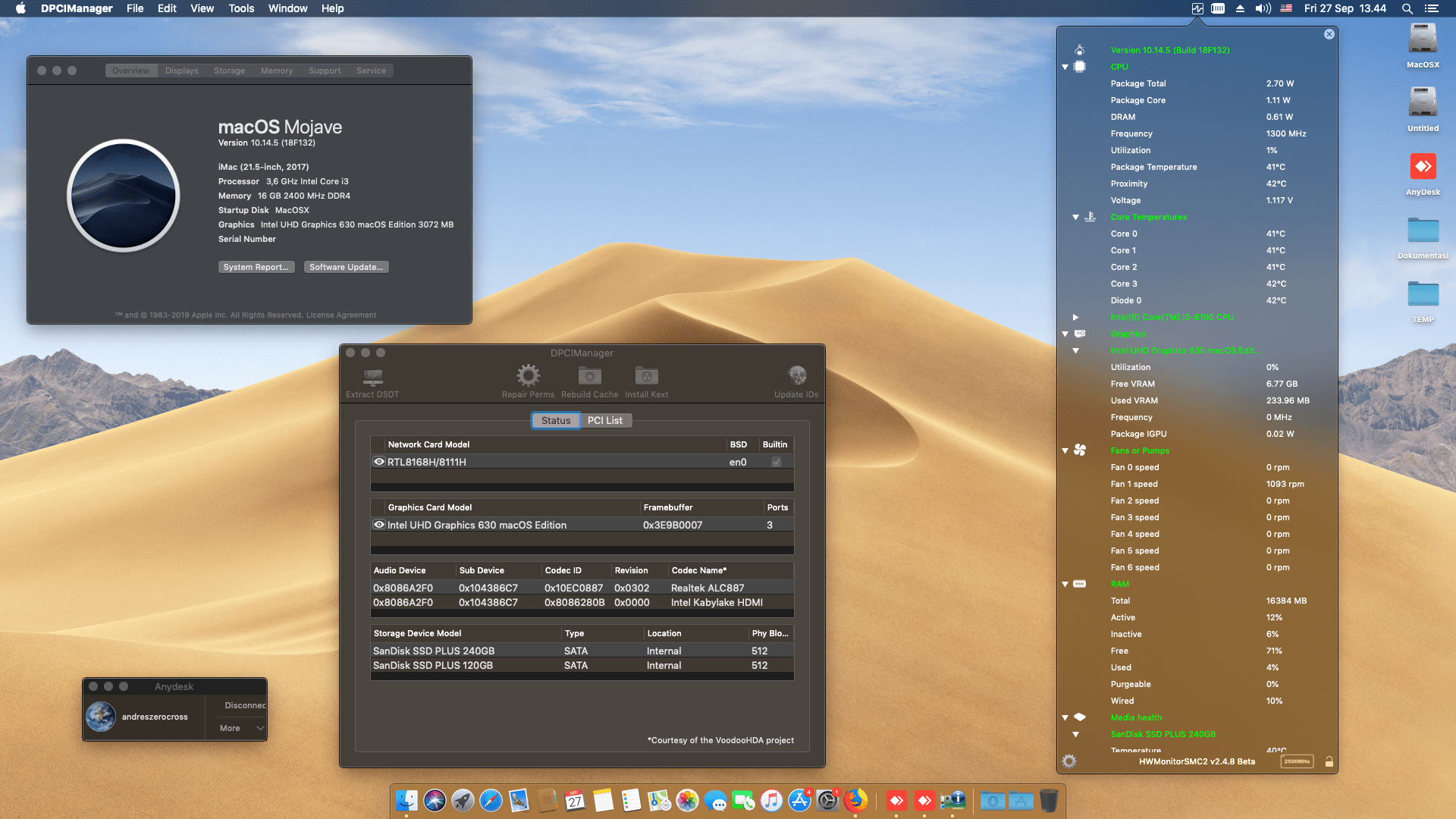 Success Hackintosh macOS Mojave 10.14.4 Build 18F132 at Asus Prime H310M-D + Intel Core i3 8100