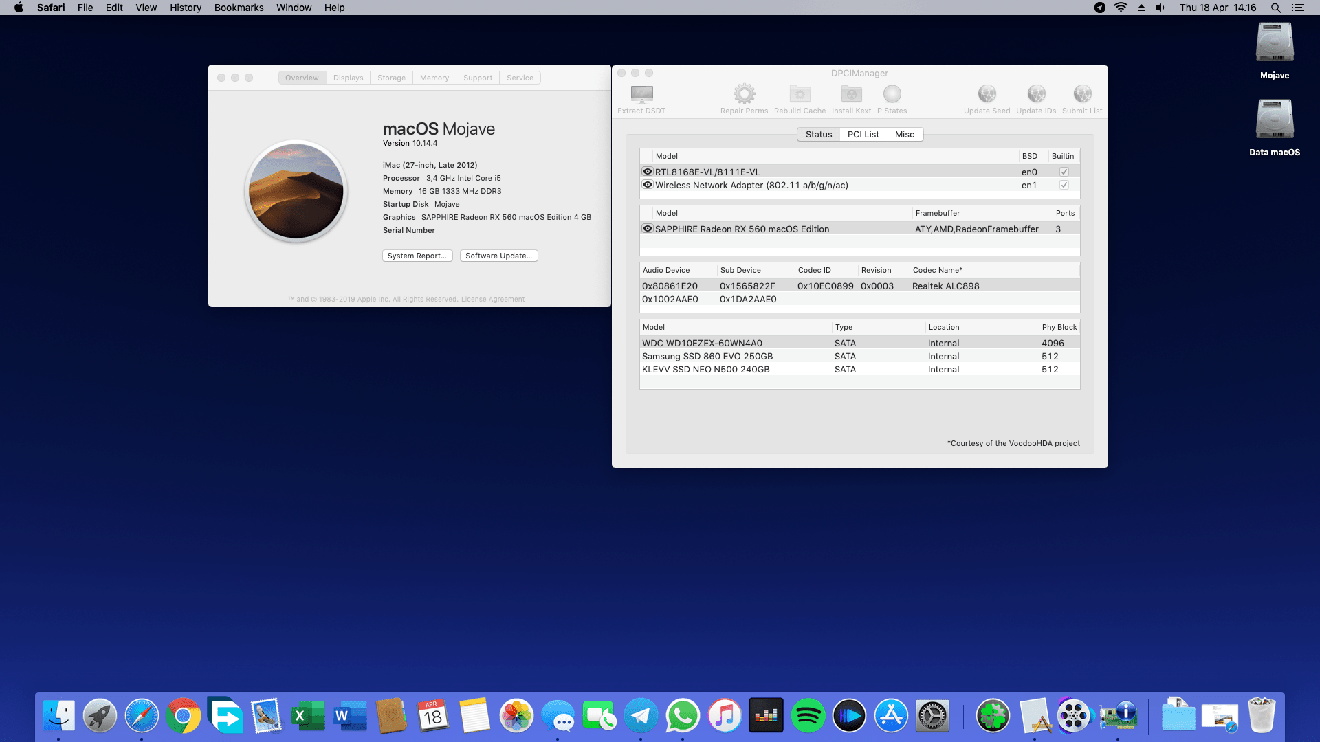 Succes Hackintosh macOS Mojave 10.14.4 Build 18E226 at Biostar Z77X Hifi + Intel Core i5 3570 + Sapphire RX 560