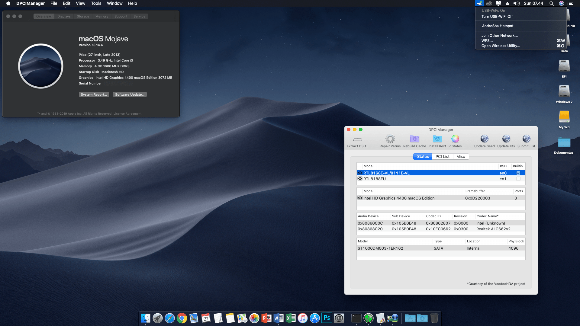 Succes Hackintosh macOS Mojave 10.14.4 Build 18E226 at Foxconn H81MXV (V2) + Intel Core i3 4150