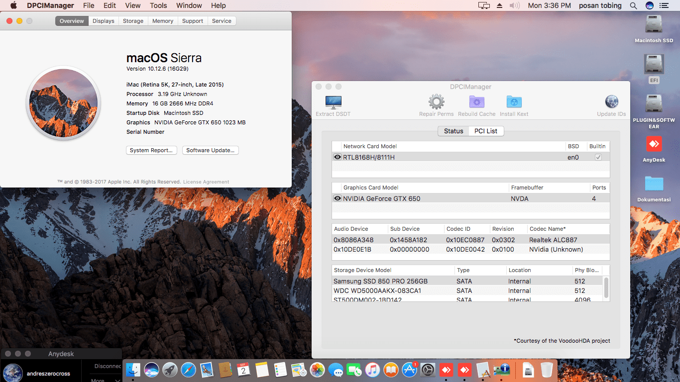 Success Hackintosh macOS Sierra 10.12.6 Build 16G29 at Gigabyte B360M DS3H + Intel Core i7 8700 + Nvidia GTX 650