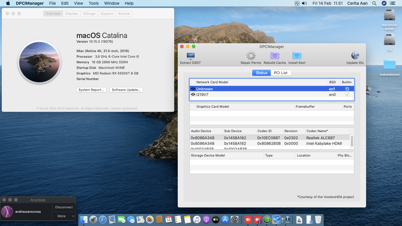 Success Hackintosh macOS Catalina 10.15.3 Build 19D76 in Gigabyte B360N WIFI + Intel Core i5 8600K + MSI RX 5500XT