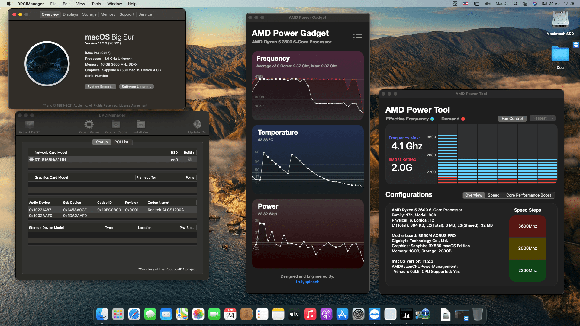 Success Hackintosh macOS Big Sur 11.2.3 Build 20D91 in Gigabyte B550M Aorus Pro + AMD Ryzen 5 3600 + Sapphire RX 580