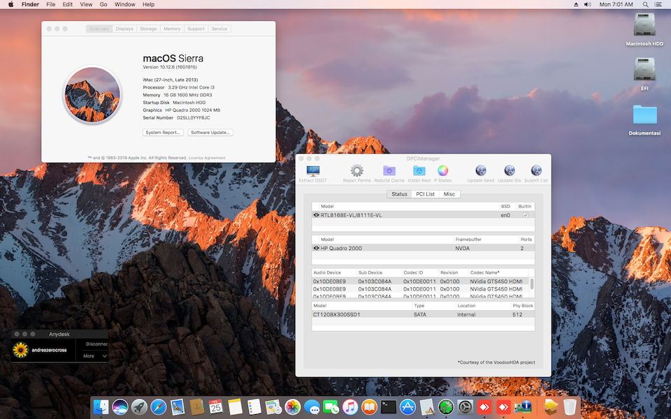 Success Hackintosh macOS Sierra 10.12.6 Build 16G1815 at Gigabyte GA H61M-DS2 + Intel i3 2120 + Quadro 2000