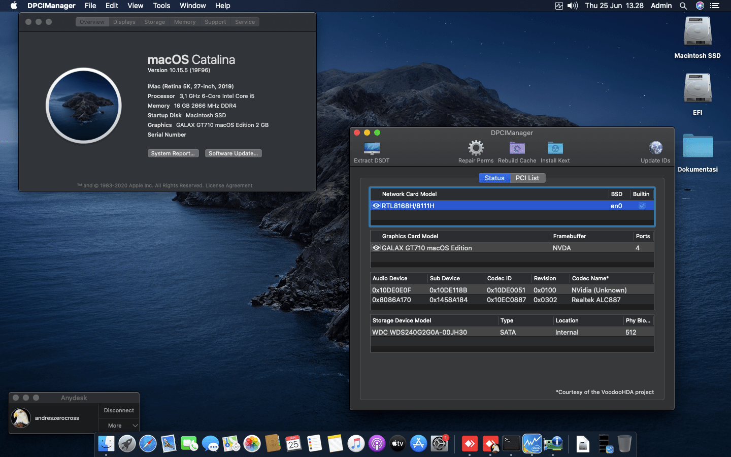 Success Hackintosh macOS Catalina 10.15.5 Build 19F96 in Gigabyte H410M S2 + Intel Core i5 10500 + Galax GT710