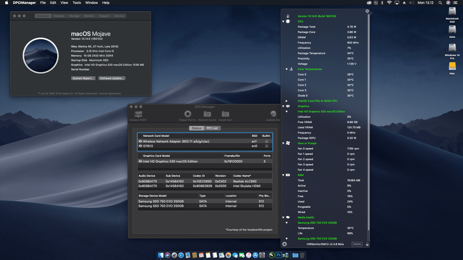 Success Hackintosh macOS Mojave 10.14.6 Build 18G103 at Gigabyte Z170M-D3H + Intel Core i5 6500