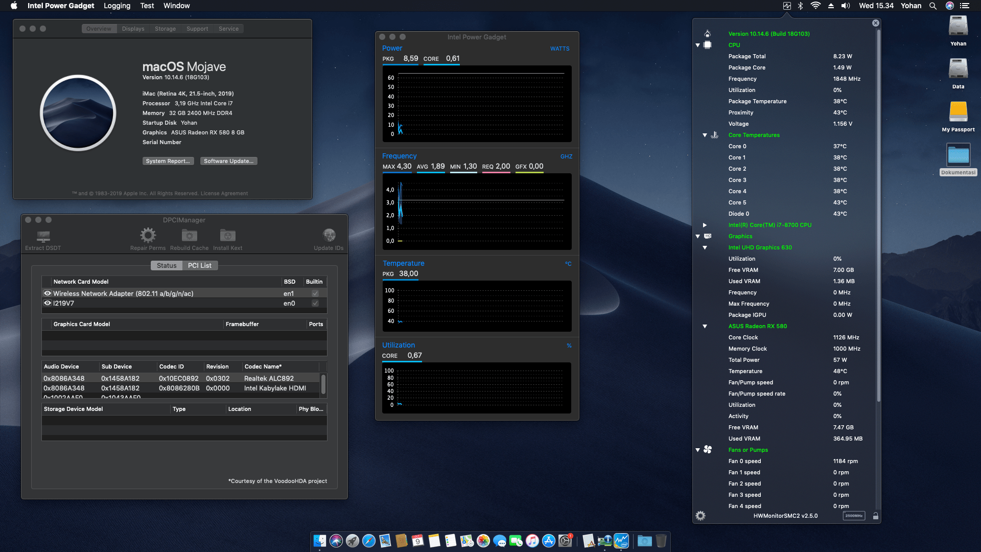 Success Hackintosh macOS Mojave 10.14.6 Build 18G103 at Gigabyte Z390 M + Intel Core i7 8700 + ASUS RX 580
