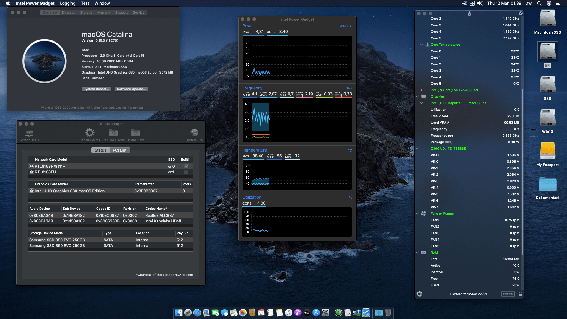 Success Hackintosh macOS Catalina 10.15.3 Build 19D76 in Gigabyte Z390 UD + Intel Core i5-9400
