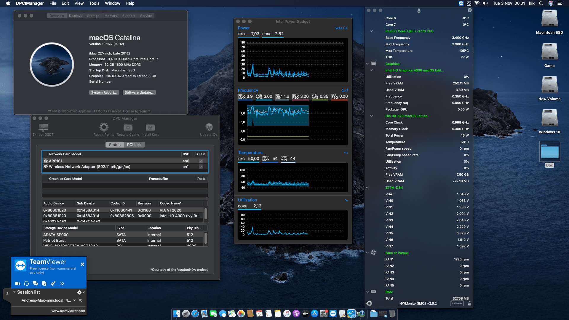 Success Hackintosh macOS Catalina 10.15.7 Build 19H2 in Gigabyte Z77M-D3H + Intel Core i7 3770 + HIS RX 570