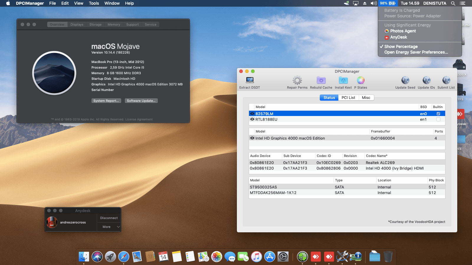 Success Hackintosh macOS Mojave 10.14.4 Build 18E226 at Lenovo Thinkpad T430