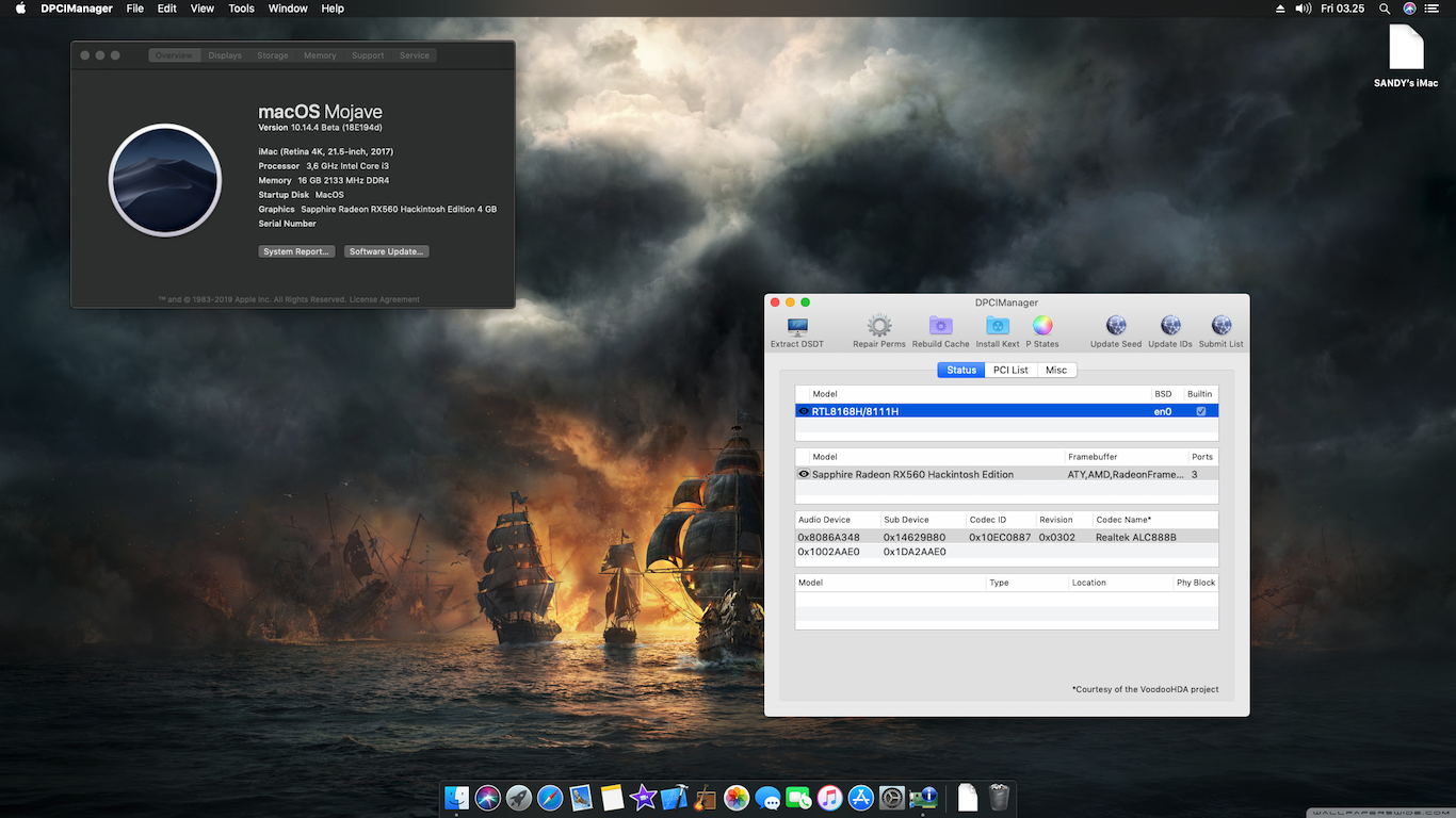 Success Hackintosh MacOS Mojave 10.14.4 Beta 4 (18E194d) at MSI H310I Pro + Intel Core i3 8100 + Sapphire RX560