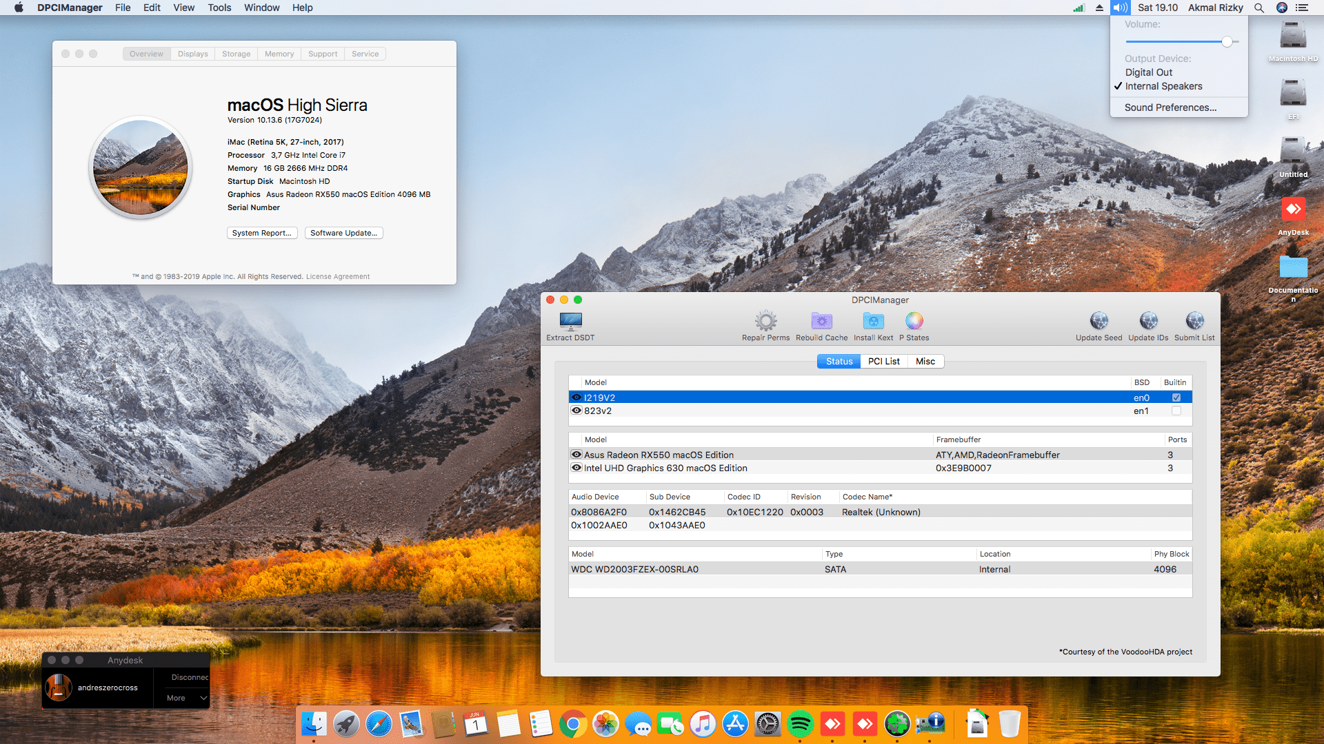 Success Hackintosh macOS High Sierra 10.13.6 Build 17G7024 at MSI Z370 Gaming Pro Carbon + Intel i7 8700K + Asus RX 550 4GB