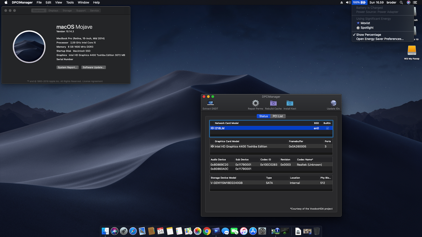 Success Hackintosh macOS Mojave 10.14.3 Build 18D42 at Toshiba Tecra Z50-A PT50A-02N002